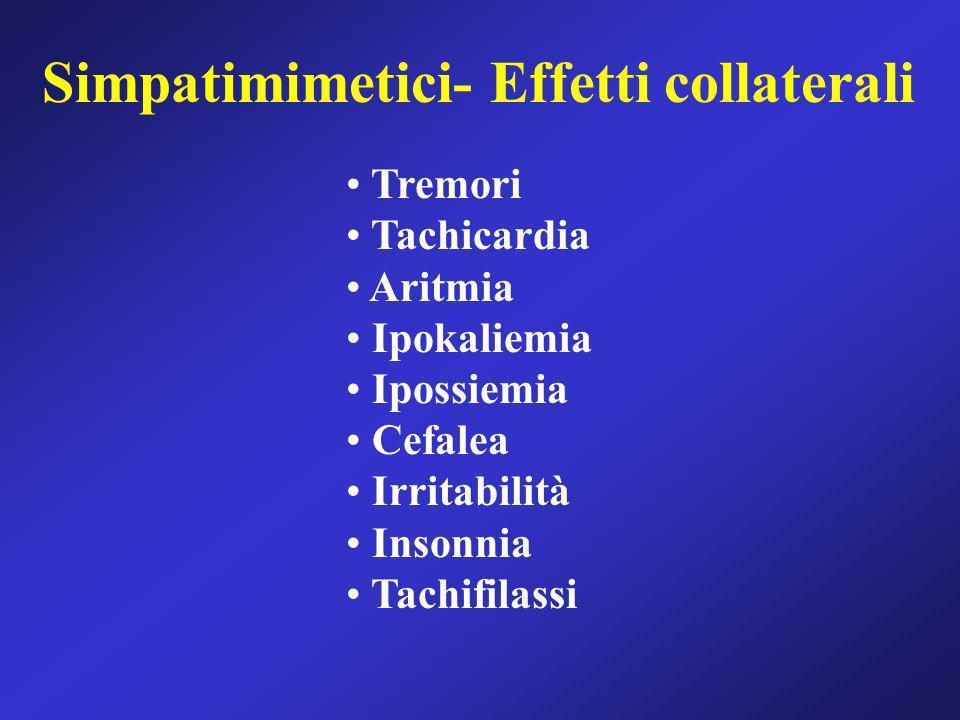 Simpatimimetici- Effetti collaterali Tremori Tachicardia Aritmia Ipokaliemia Ipossiemia Cefalea Irritabilità Insonnia Tachifilassi