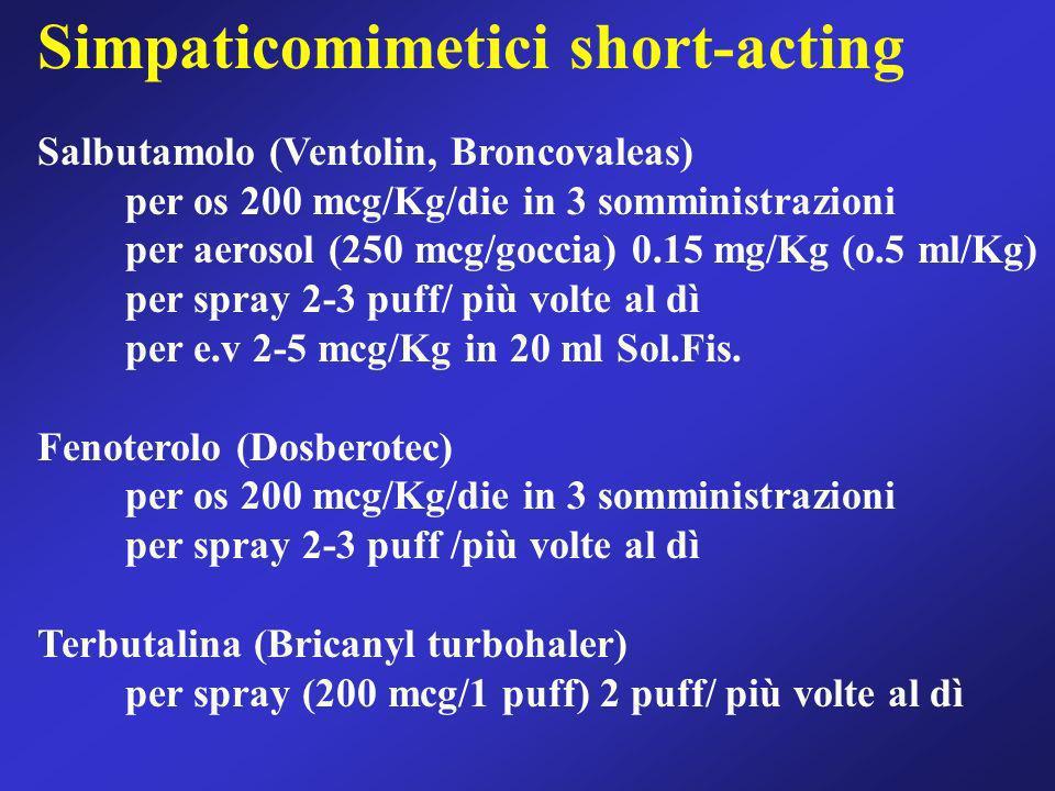 Simpaticomimetici short-acting Salbutamolo (Ventolin, Broncovaleas) per os 200 mcg/Kg/die in 3 somministrazioni per aerosol (250 mcg/goccia) 0.15 mg/K