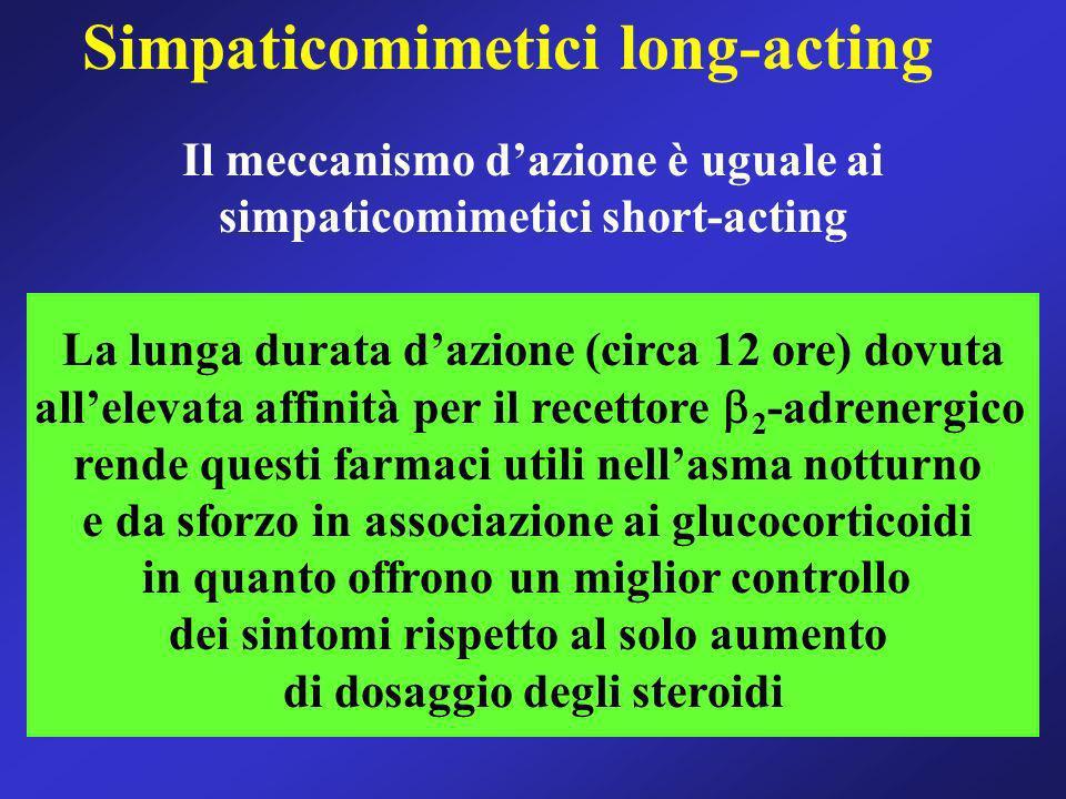 Simpaticomimetici long-acting La lunga durata dazione (circa 12 ore) dovuta allelevata affinità per il recettore 2 -adrenergico rende questi farmaci u