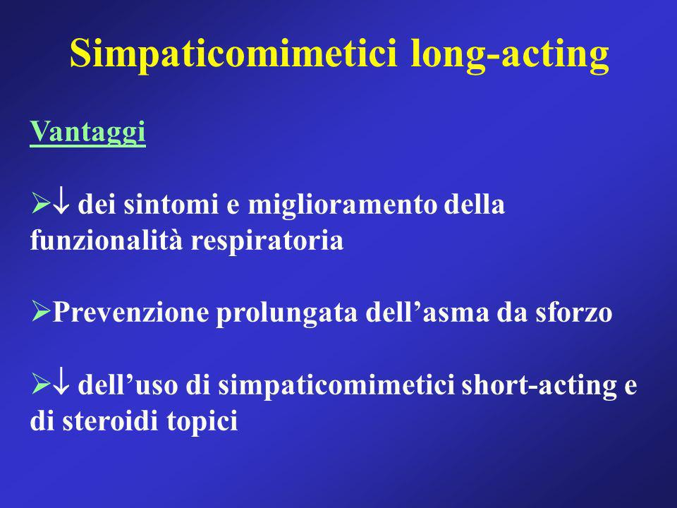 Simpaticomimetici long-acting Vantaggi dei sintomi e miglioramento della funzionalità respiratoria Prevenzione prolungata dellasma da sforzo delluso d