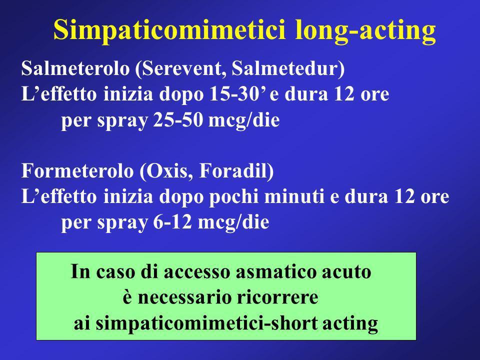 Salmeterolo (Serevent, Salmetedur) Leffetto inizia dopo 15-30 e dura 12 ore per spray 25-50 mcg/die Formeterolo (Oxis, Foradil) Leffetto inizia dopo p
