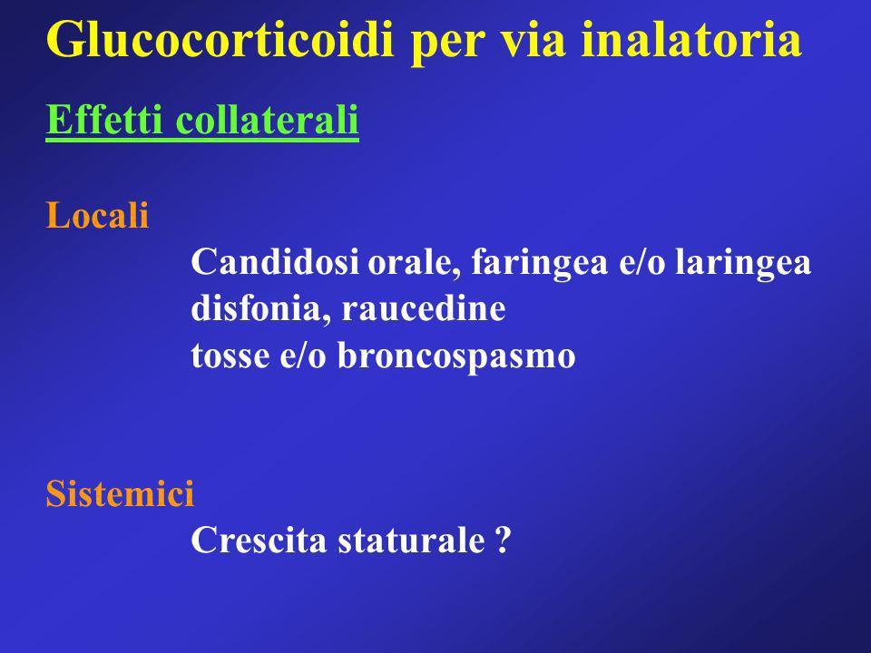 Glucocorticoidi per via inalatoria Effetti collaterali Locali Candidosi orale, faringea e/o laringea disfonia, raucedine tosse e/o broncospasmo Sistem