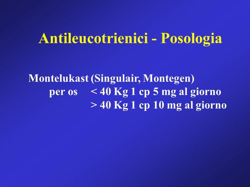 Antileucotrienici - Posologia Montelukast (Singulair, Montegen) per os < 40 Kg 1 cp 5 mg al giorno > 40 Kg 1 cp 10 mg al giorno