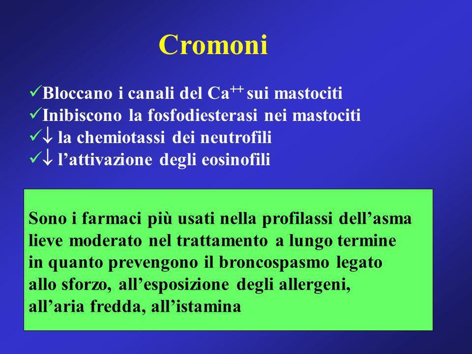 Cromoni Bloccano i canali del Ca ++ sui mastociti Inibiscono la fosfodiesterasi nei mastociti la chemiotassi dei neutrofili lattivazione degli eosinof