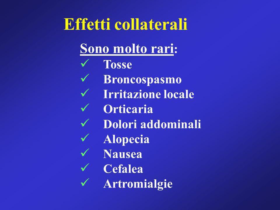 Effetti collaterali Sono molto rari : Tosse Broncospasmo Irritazione locale Orticaria Dolori addominali Alopecia Nausea Cefalea Artromialgie