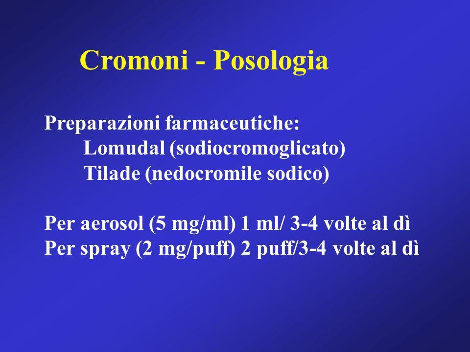 Preparazioni farmaceutiche: Lomudal (sodiocromoglicato) Tilade (nedocromile sodico) Per aerosol (5 mg/ml) 1 ml/ 3-4 volte al dì Per spray (2 mg/puff)
