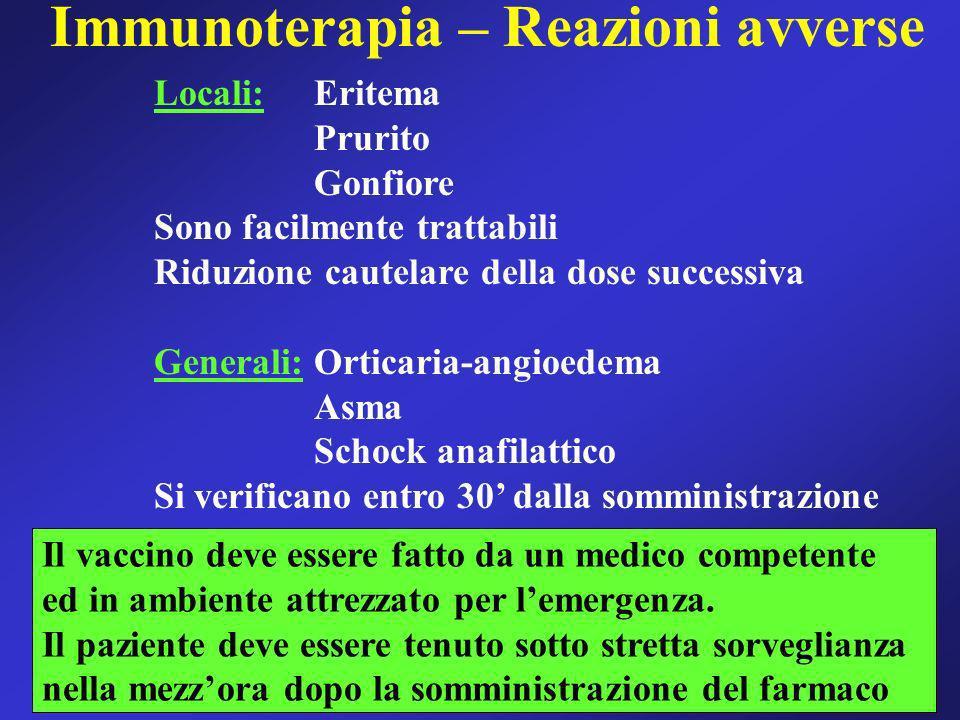 Immunoterapia – Reazioni avverse Locali:Eritema Prurito Gonfiore Sono facilmente trattabili Riduzione cautelare della dose successiva Generali:Orticar