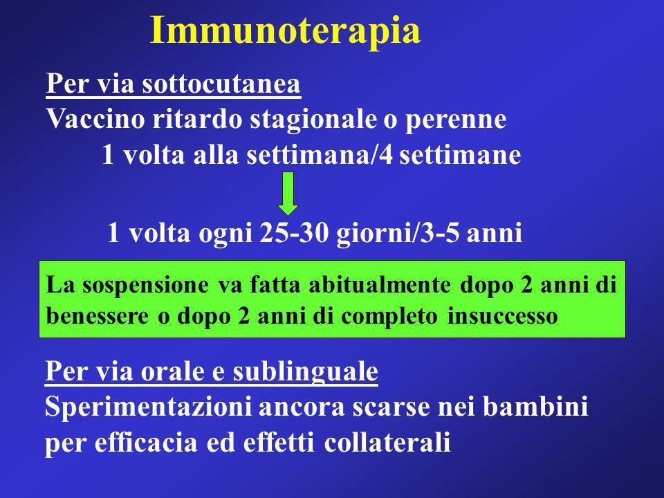 Immunoterapia Per via sottocutanea Vaccino ritardo stagionale o perenne 1 volta alla settimana/4 settimane 1 volta ogni 25-30 giorni/3-5 anni La sospe