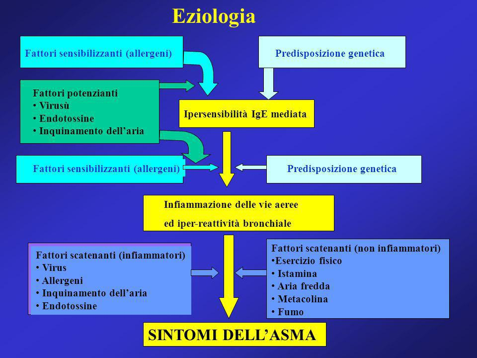 Antistaminici Hanno un ruolo marginale nella terapia dellasma Non sono broncodilatatori Ketotifene (Zaditen, Alleal) 4mg/Kg per 2 volte al giorno Citerizina (Zirtec, Virlix) ½ gtt/Kg Loratidina (Clarityn) 5 ml 30 Kg Gli ultimi studi sembrano attestare la capacità di alcuni antistaminici nel modificare liperreattività bronchiale, mediante unazione antinfiammatoria, riducendo il numero e lattivazione degli eosinofili e dei linfociti T della mucosa bronchiale