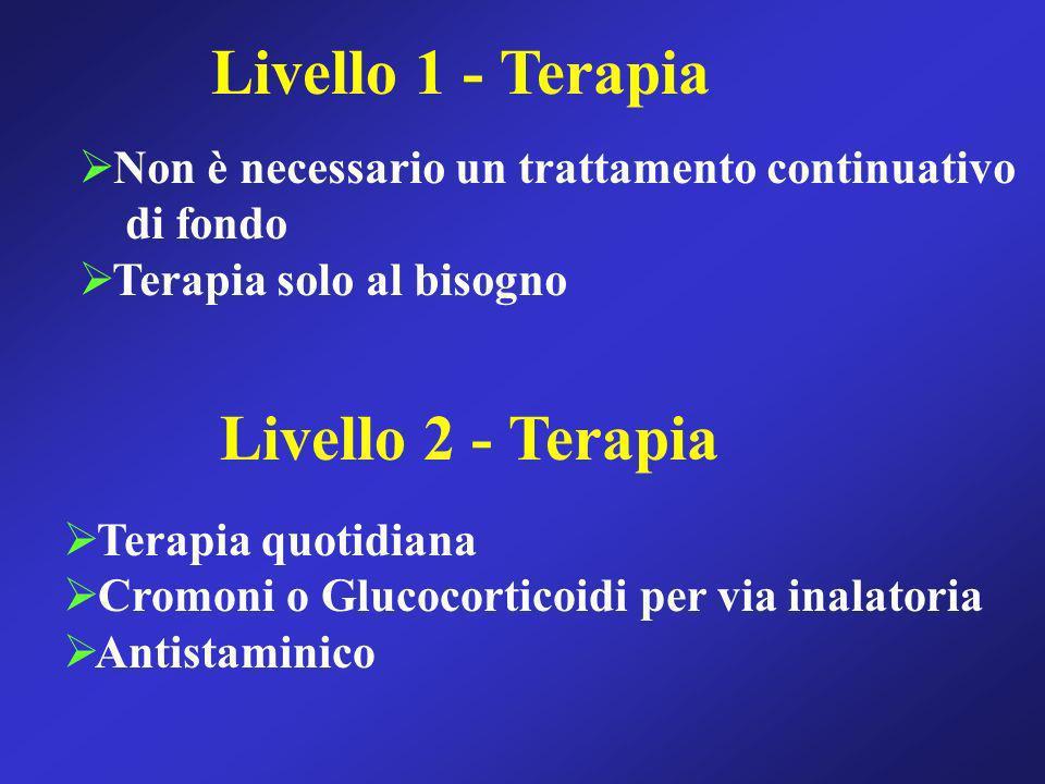 Livello 1 - Terapia Non è necessario un trattamento continuativo di fondo Terapia solo al bisogno Livello 2 - Terapia Terapia quotidiana Cromoni o Glu