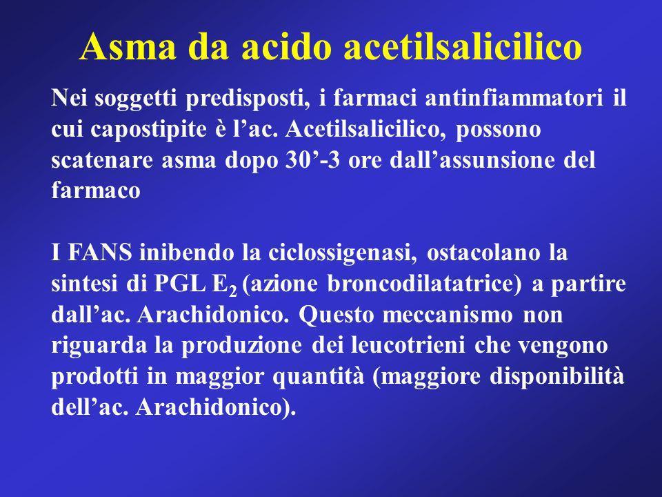 Asma da acido acetilsalicilico Nei soggetti predisposti, i farmaci antinfiammatori il cui capostipite è lac. Acetilsalicilico, possono scatenare asma