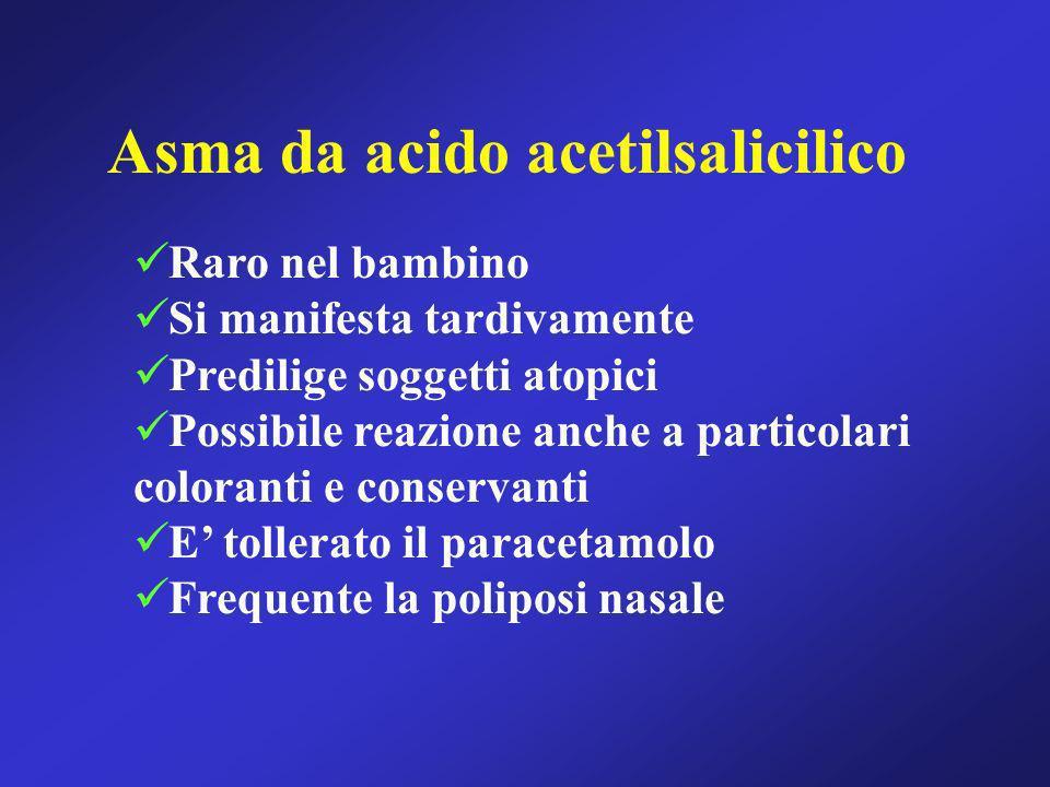 Asma da acido acetilsalicilico Raro nel bambino Si manifesta tardivamente Predilige soggetti atopici Possibile reazione anche a particolari coloranti