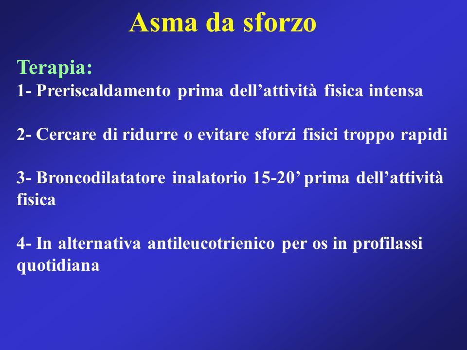 Asma da sforzo Terapia: 1- Preriscaldamento prima dellattività fisica intensa 2- Cercare di ridurre o evitare sforzi fisici troppo rapidi 3- Broncodil
