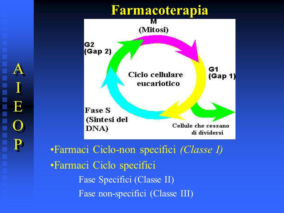 Farmacoterapia AIEOPAIEOP AIEOPAIEOP Farmaci Ciclo-non specifici (Classe I) Farmaci Ciclo specifici Fase Specifici (Classe II) Fase non-specifici (Cla
