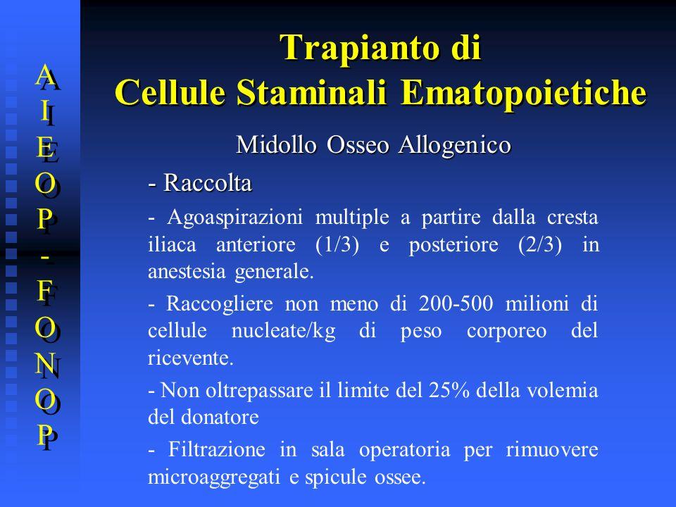 Trapianto di Cellule Staminali Ematopoietiche AIEOP-FONOPAIEOP-FONOP AIEOP-FONOPAIEOP-FONOP Midollo Osseo Allogenico - Raccolta - Agoaspirazioni multi