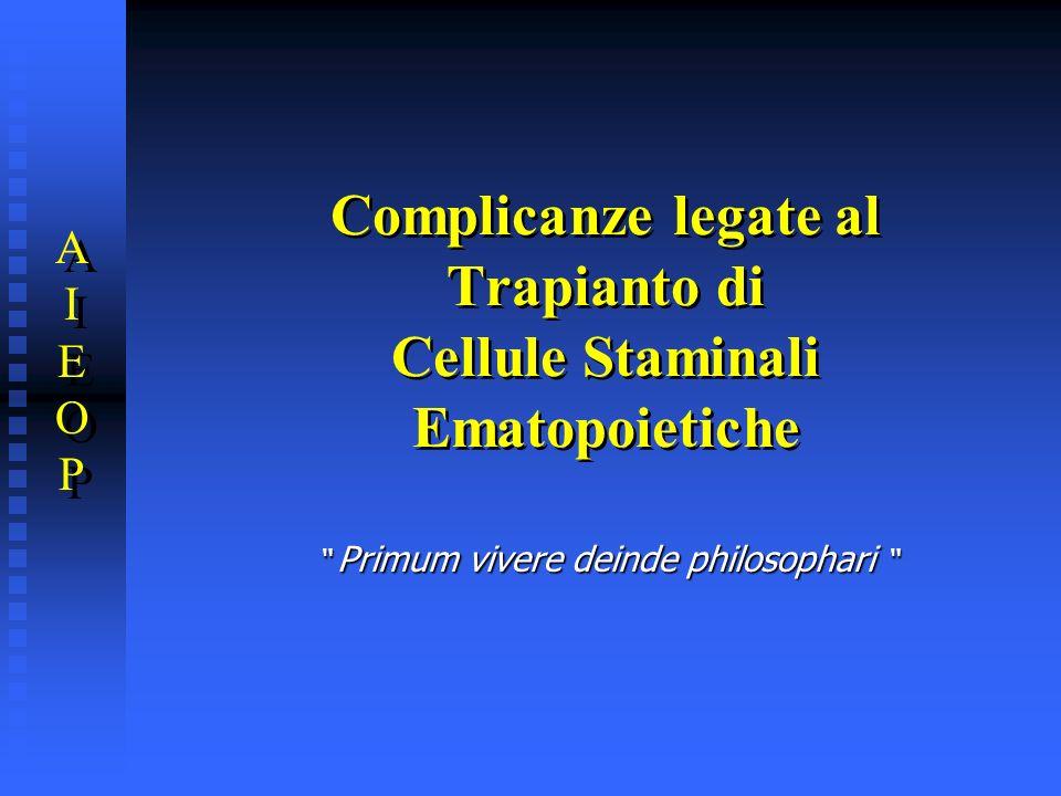 Complicanze legate al Trapianto di Cellule Staminali Ematopoietiche AIEOPAIEOP AIEOPAIEOP Primum vivere deinde philosophari Primum vivere deinde philo