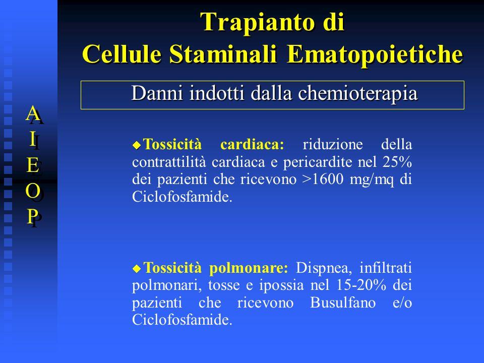 Trapianto di Cellule Staminali Ematopoietiche Danni indotti dalla chemioterapia Tossicità cardiaca: riduzione della contrattilità cardiaca e pericardi