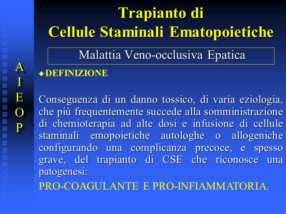 Trapianto di Cellule Staminali Ematopoietiche Malattia Veno-occlusiva Epatica DEFINIZIONE Conseguenza di un danno tossico, di varia eziologia, che più