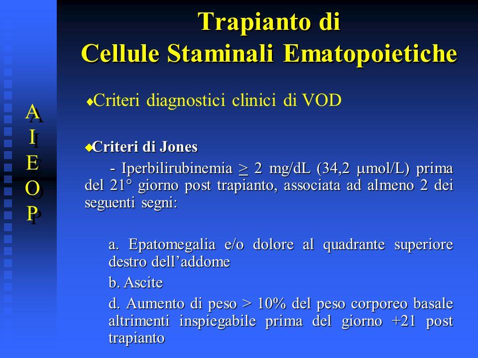 Trapianto di Cellule Staminali Ematopoietiche Criteri diagnostici clinici di VOD Criteri di Jones Criteri di Jones - Iperbilirubinemia > 2 mg/dL (34,2