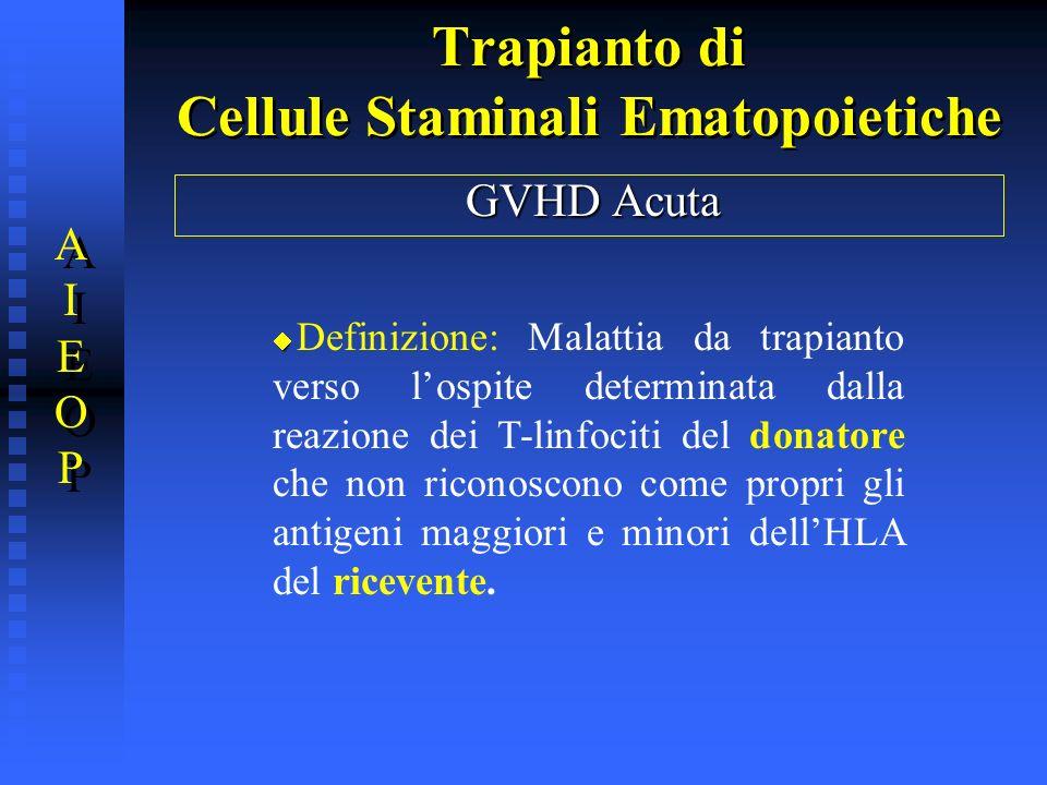 Trapianto di Cellule Staminali Ematopoietiche GVHD Acuta Definizione: Malattia da trapianto verso lospite determinata dalla reazione dei T-linfociti d