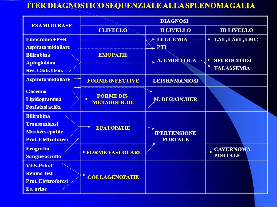 ITER DIAGNOSTICO SEQUENZIALE ALLA SPLENOMAGALIA ESAMI DI BASE DIAGNOSI I LIVELLOII LIVELLOIII LIVELLO Emocromo +P+R Aspirato midollare Bilirubina Apto