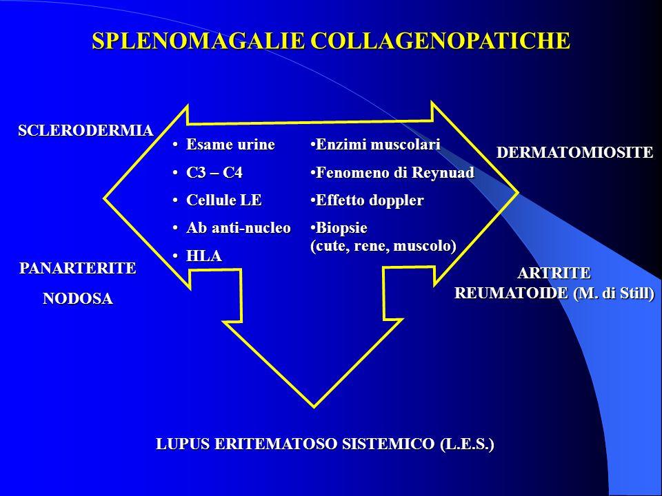 SPLENOMAGALIE COLLAGENOPATICHE Esame urineEsame urine C3 – C4C3 – C4 Cellule LECellule LE Ab anti-nucleoAb anti-nucleo HLAHLA LUPUS ERITEMATOSO SISTEM
