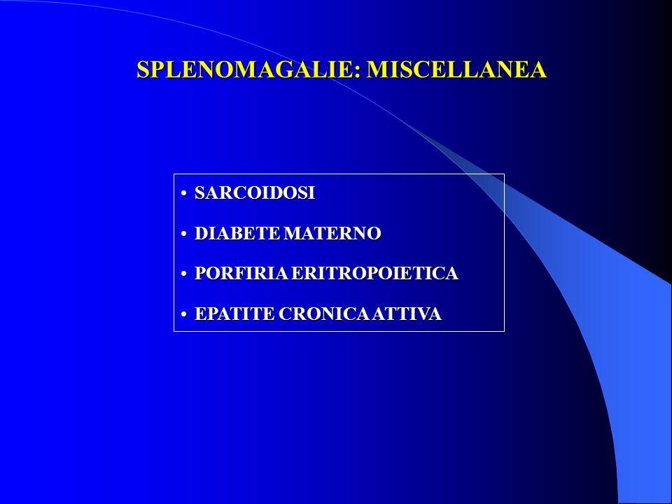 SPLENOMAGALIE: MISCELLANEA SARCOIDOSISARCOIDOSI DIABETE MATERNODIABETE MATERNO PORFIRIA ERITROPOIETICAPORFIRIA ERITROPOIETICA EPATITE CRONICA ATTIVAEP