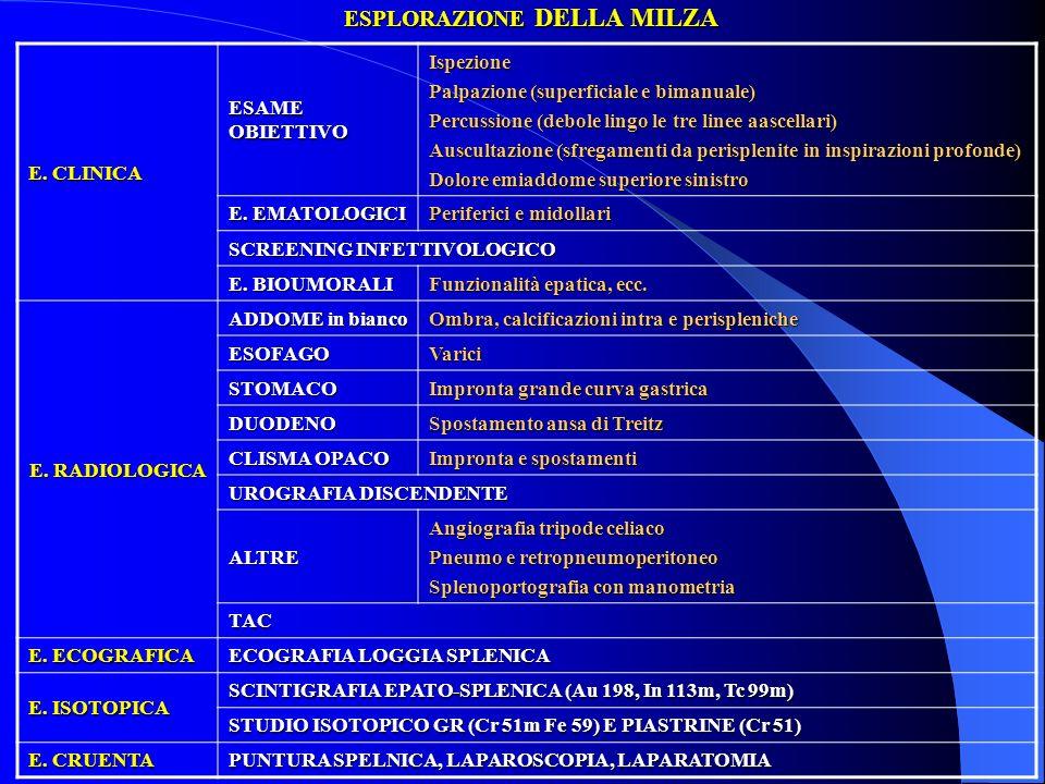 ESPLORAZIONE DELLA MILZA E. CLINICA ESAME OBIETTIVO Ispezione Palpazione (superficiale e bimanuale) Percussione (debole lingo le tre linee aascellari)