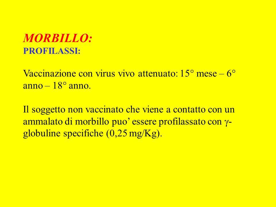 MORBILLO: PROFILASSI: Vaccinazione con virus vivo attenuato: 15° mese – 6° anno – 18° anno. Il soggetto non vaccinato che viene a contatto con un amma