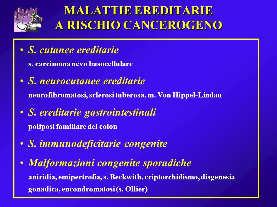 MALATTIE EREDITARIE A RISCHIO CANCEROGENO S. cutanee ereditarie s. carcinoma nevo basocellulare S. neurocutanee ereditarie neurofibromatosi, sclerosi