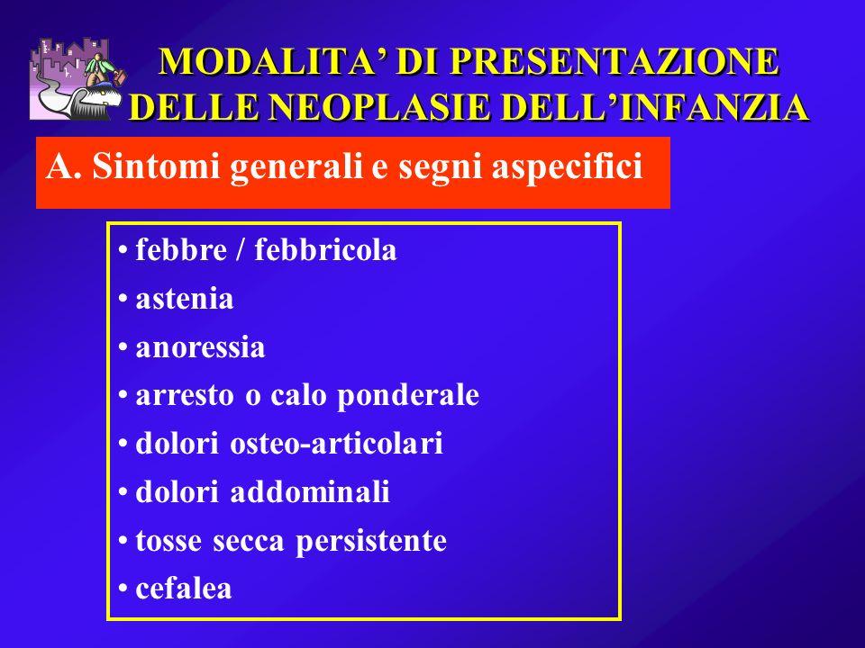 MODALITA DI PRESENTAZIONE DELLE NEOPLASIE DELLINFANZIA A. Sintomi generali e segni aspecifici febbre / febbricola astenia anoressia arresto o calo pon