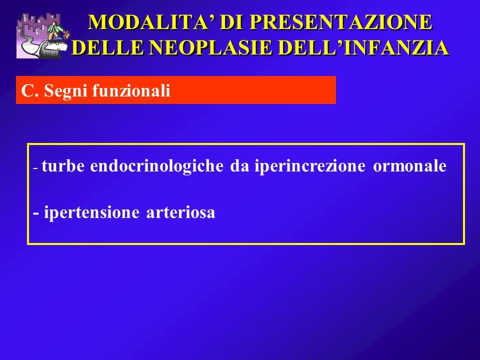 MODALITA DI PRESENTAZIONE DELLE NEOPLASIE DELLINFANZIA C. Segni funzionali - turbe endocrinologiche da iperincrezione ormonale - ipertensione arterios