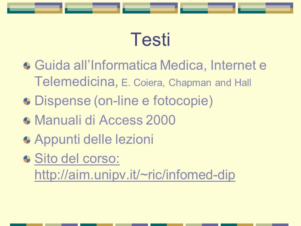 Testi Guida allInformatica Medica, Internet e Telemedicina, E. Coiera, Chapman and Hall Dispense (on-line e fotocopie) Manuali di Access 2000 Appunti