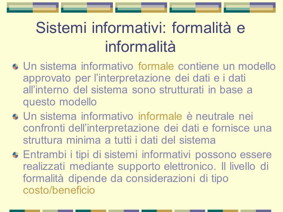 Sistemi informativi: formalità e informalità Un sistema informativo formale contiene un modello approvato per linterpretazione dei dati e i dati allin