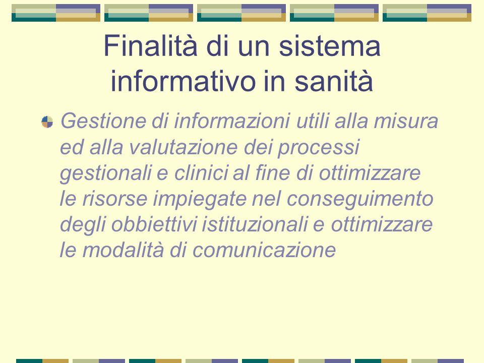 Finalità di un sistema informativo in sanità Gestione di informazioni utili alla misura ed alla valutazione dei processi gestionali e clinici al fine