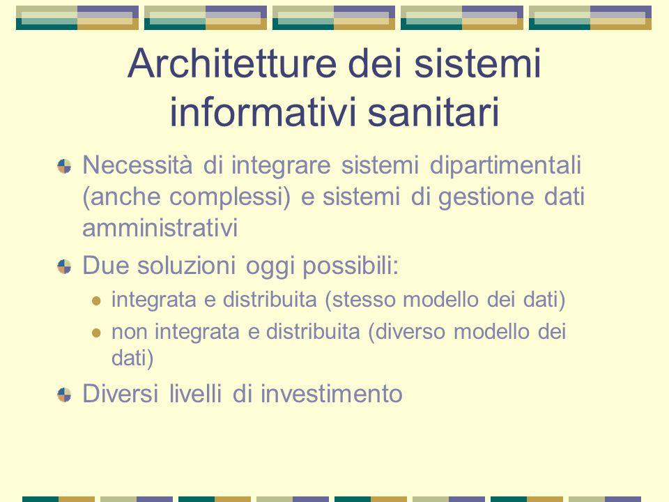 Architetture dei sistemi informativi sanitari Necessità di integrare sistemi dipartimentali (anche complessi) e sistemi di gestione dati amministrativ