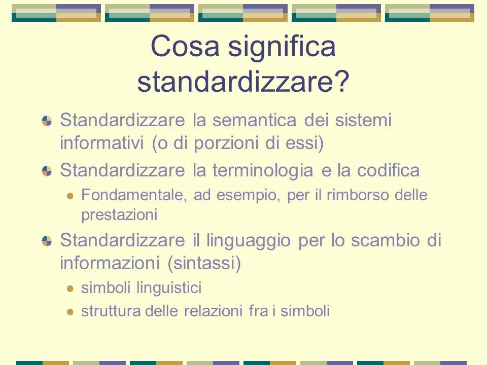Cosa significa standardizzare? Standardizzare la semantica dei sistemi informativi (o di porzioni di essi) Standardizzare la terminologia e la codific