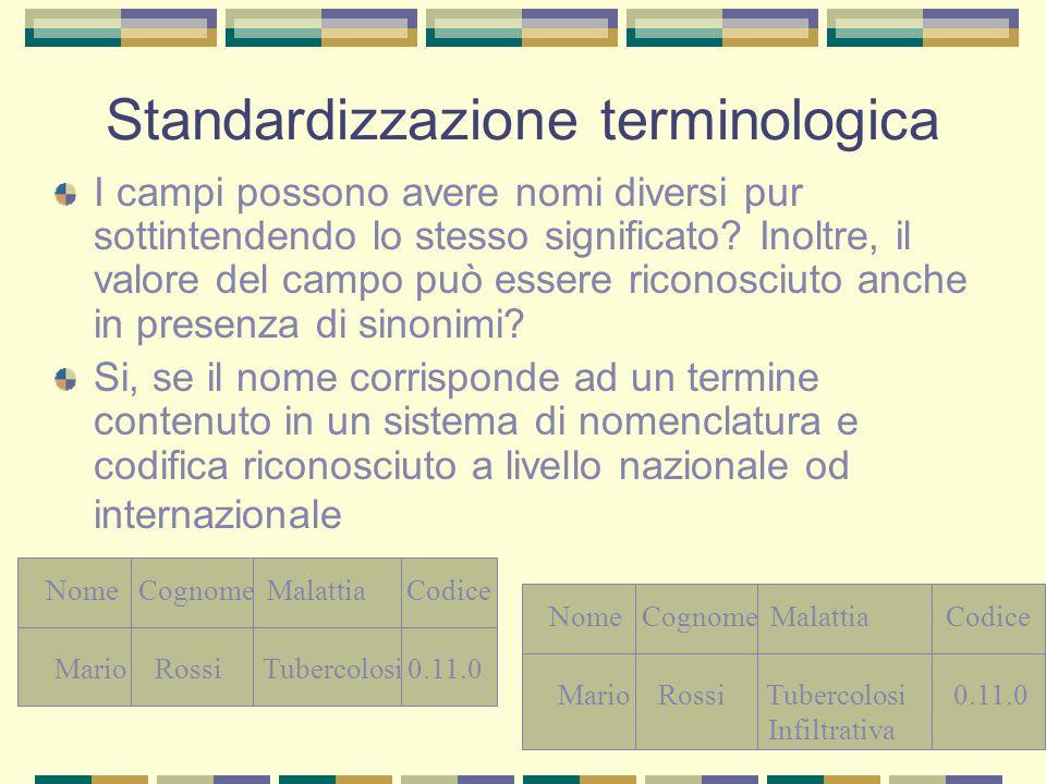 Standardizzazione terminologica I campi possono avere nomi diversi pur sottintendendo lo stesso significato? Inoltre, il valore del campo può essere r