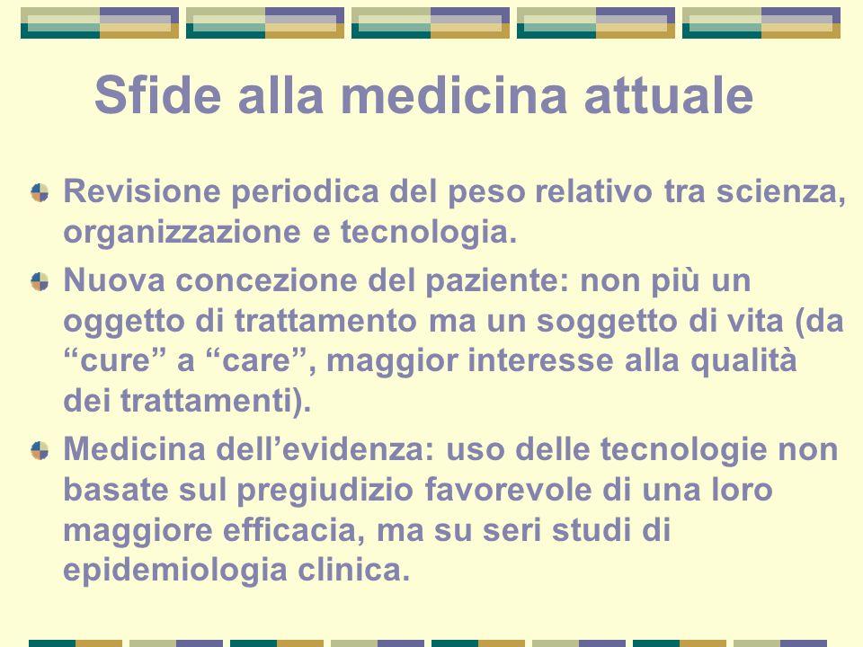 Sfide alla medicina attuale Revisione periodica del peso relativo tra scienza, organizzazione e tecnologia. Nuova concezione del paziente: non più un
