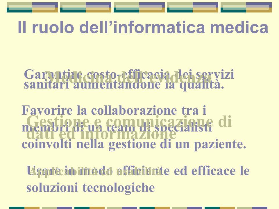 Dati, informazione, conoscenza I dati consistono di fatti I dati diventano informazione se interpretati in un contesto utilizzando la conoscenza sul contesto stesso La conoscenza è un insieme di modelli costruiti per comprendere il mondo Dati Informazione Conoscenza