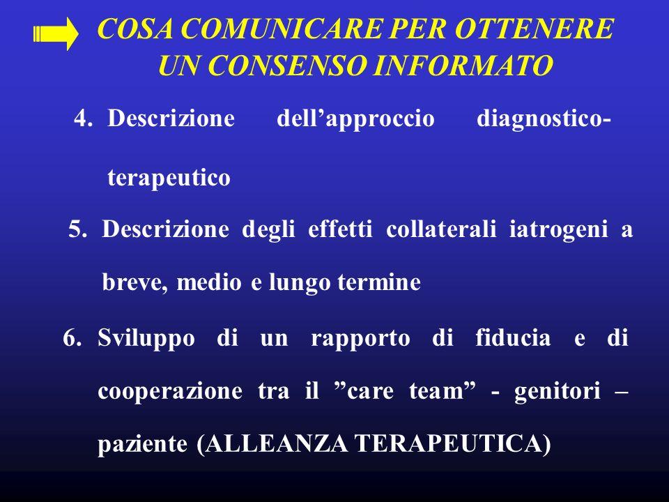 COSA COMUNICARE PER OTTENERE UN CONSENSO INFORMATO 6.Sviluppo di un rapporto di fiducia e di cooperazione tra il care team - genitori – paziente (ALLE