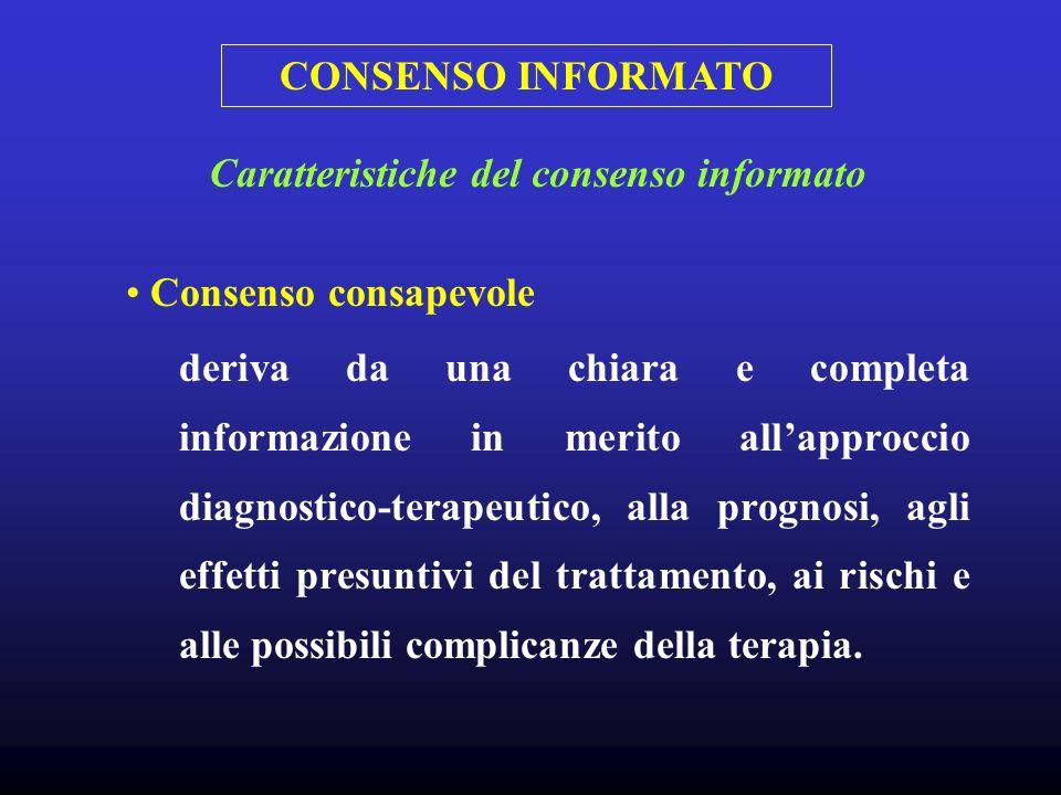 CONSENSO INFORMATO Consenso consapevole deriva da una chiara e completa informazione in merito allapproccio diagnostico-terapeutico, alla prognosi, ag