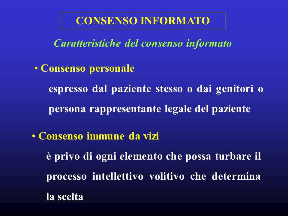 CONSENSO INFORMATO Consenso personale espresso dal paziente stesso o dai genitori o persona rappresentante legale del paziente Caratteristiche del con