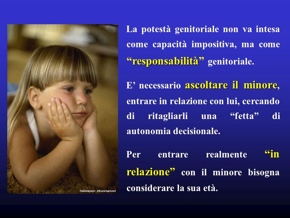 responsabilità La potestà genitoriale non va intesa come capacità impositiva, ma comeresponsabilità genitoriale. ascoltare il minore E necessario asco