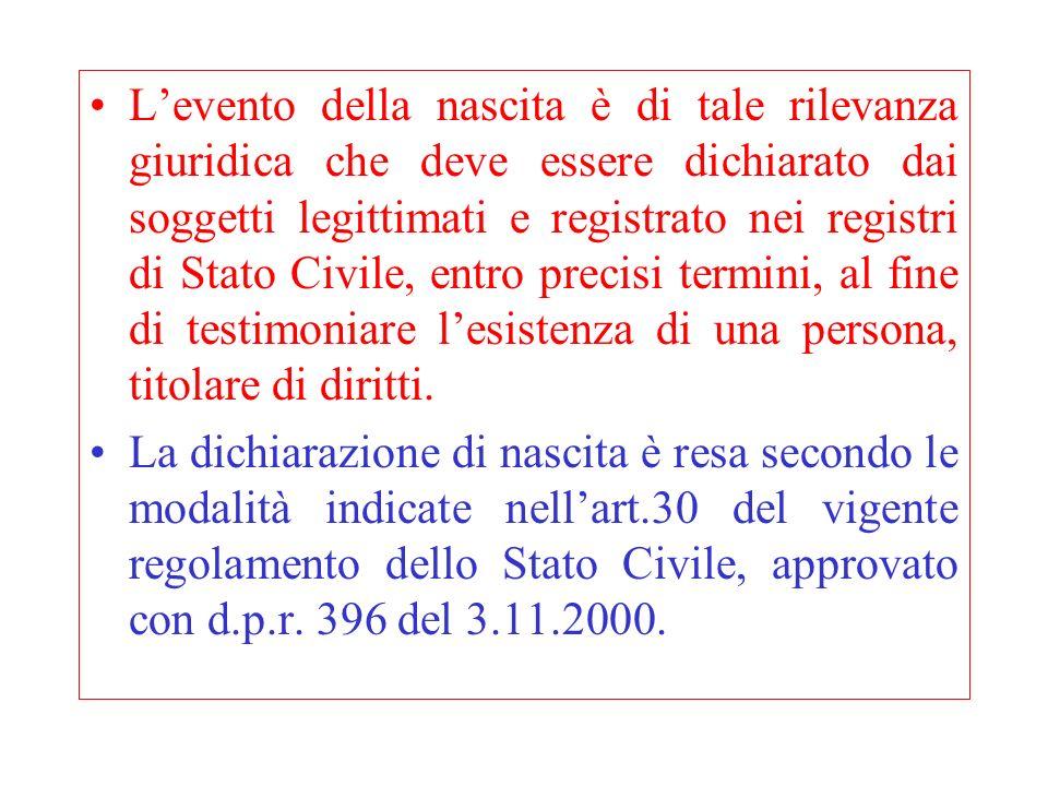 Levento della nascita è di tale rilevanza giuridica che deve essere dichiarato dai soggetti legittimati e registrato nei registri di Stato Civile, ent
