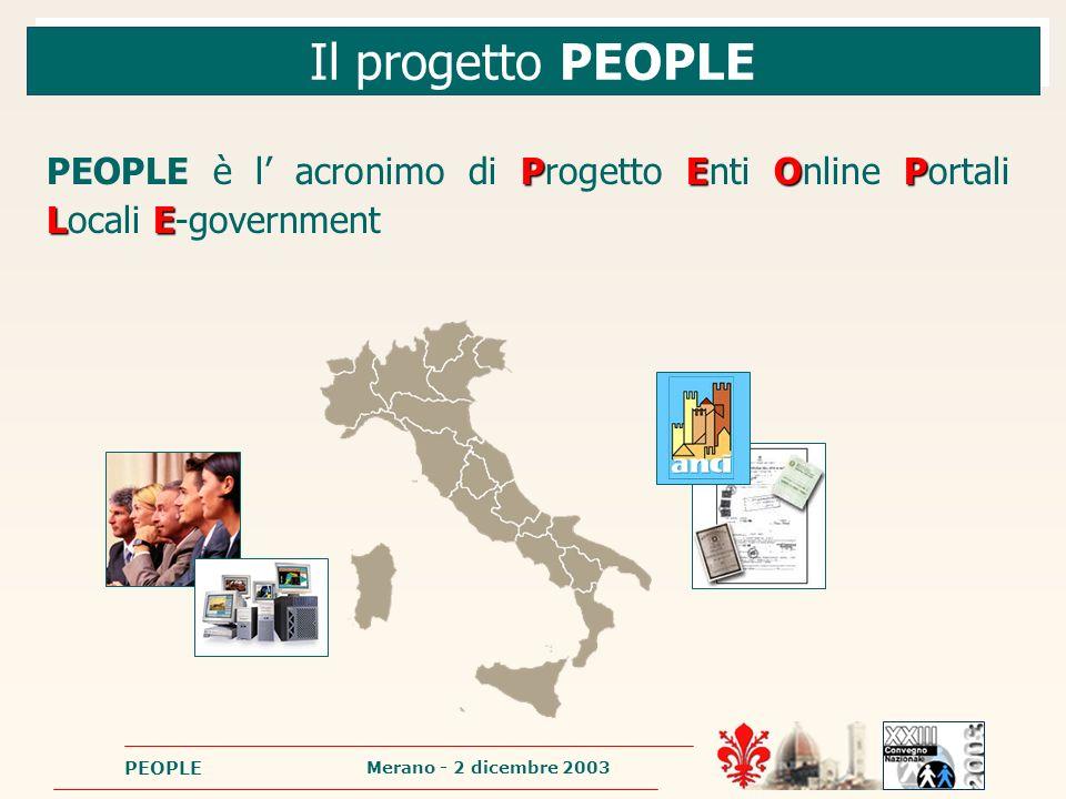 Merano - 2 dicembre 2003 PEOPLE Il progetto PEOPLE P EOP LE PEOPLE è l acronimo di Progetto Enti Online Portali Locali E-government