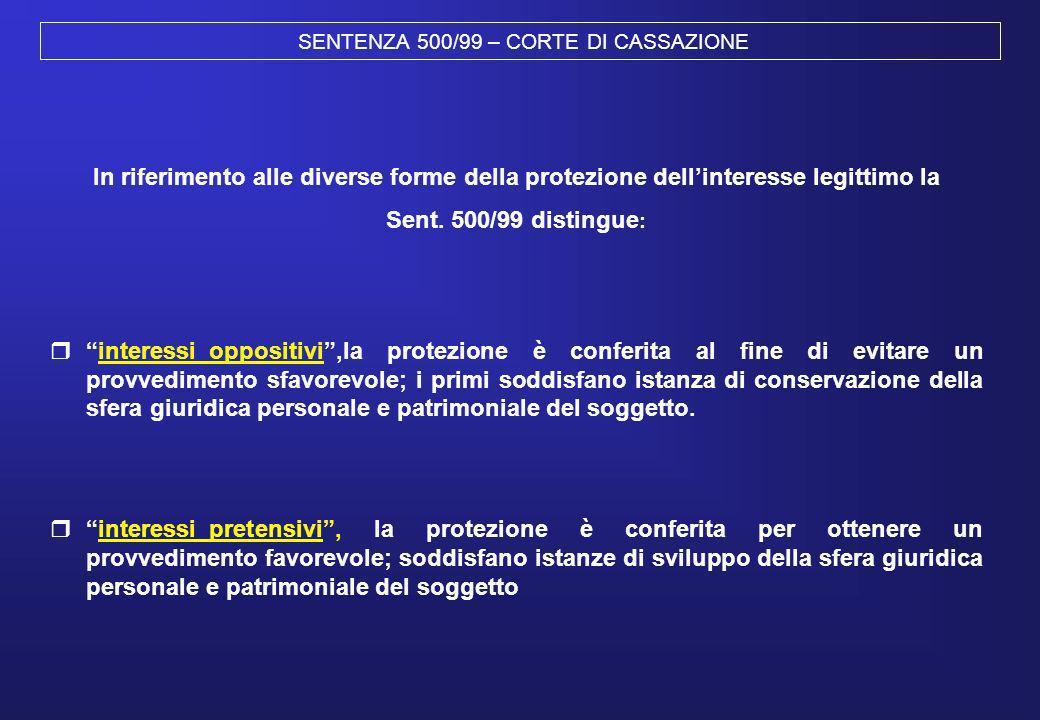 SENTENZA 500/99 – CORTE DI CASSAZIONE In riferimento alle diverse forme della protezione dellinteresse legittimo la Sent. 500/99 distingue : interessi