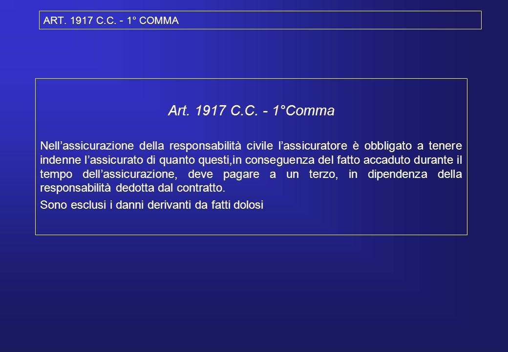 ART. 1917 C.C. - 1° COMMA Art. 1917 C.C. - 1°Comma Nellassicurazione della responsabilità civile lassicuratore è obbligato a tenere indenne lassicurat