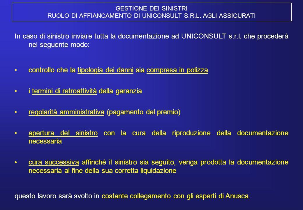 GESTIONE DEI SINISTRI RUOLO DI AFFIANCAMENTO DI UNICONSULT S.R.L. AGLI ASSICURATI In caso di sinistro inviare tutta la documentazione ad UNICONSULT s.