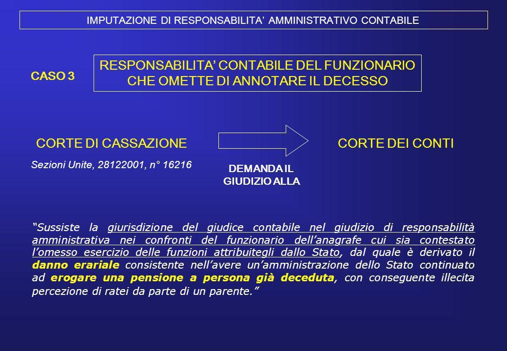 IMPUTAZIONE DI RESPONSABILITA AMMINISTRATIVO CONTABILE Sussiste la giurisdizione del giudice contabile nel giudizio di responsabilità amministrativa n